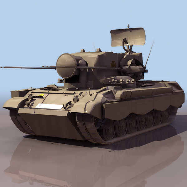 German 50 Mm Anti Tank Gun: Flakpanzer Gepard German Anti-aircraft Gun 3d Model 3DS