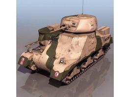 American M3 Grant medium tank 3d model