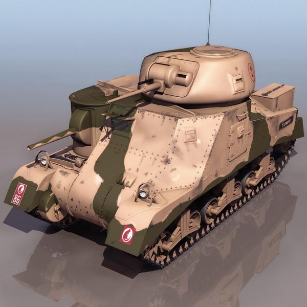 American M3 Grant medium tank 3d rendering
