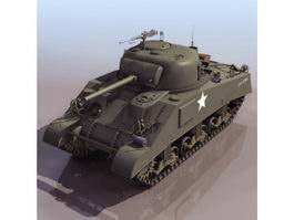 American M4 Sherman medium tank 3d model