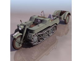 SdKfz 2 half-track gun tractor 3d model