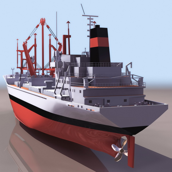 General Cargo Ship 3d Model 3ds Files Free Download