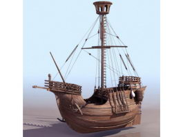 Traditional sailing boat 3d model
