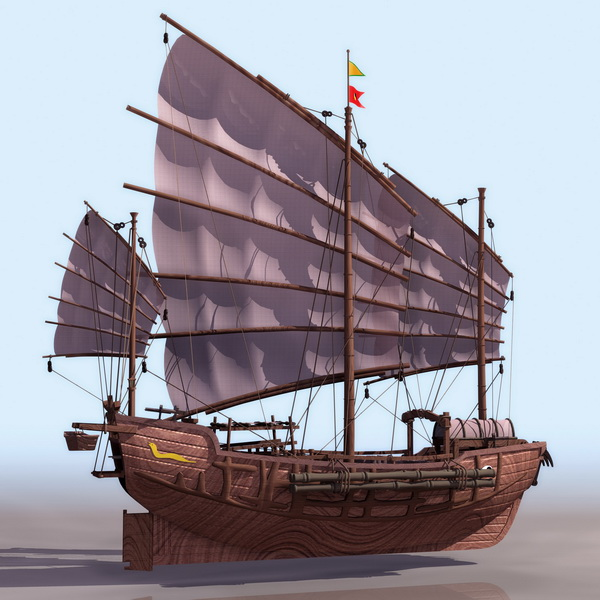 Ancient Chinese Sailing Junk Ship 3d Model 3ds Files Free