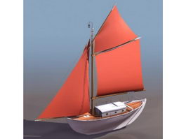 Single mast sail boat 3d model