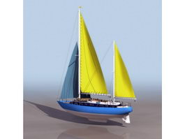Schooner sailing ship 3d model
