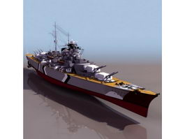 German Bismarck battleship 3d model