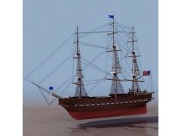USS Constitution frigate 3d model