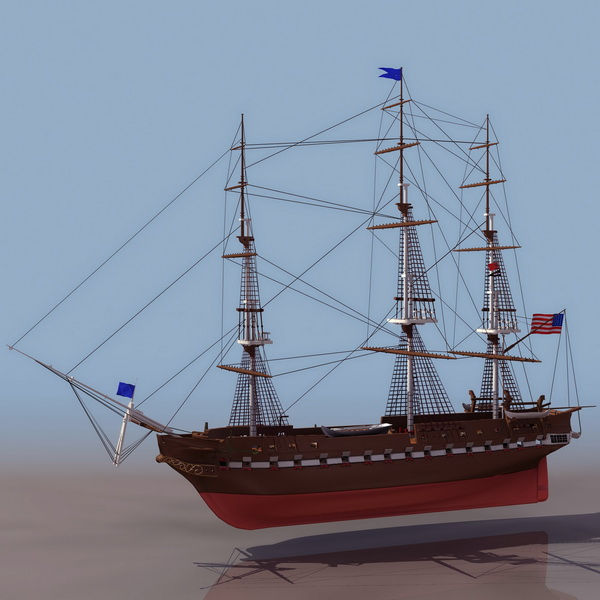 Uss Constitution Frigate 3d Model 3ds Files Free Download
