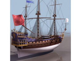 1795 French Navy frigate Sirene sailing ship 3d model