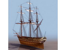 18th century French glorieux sailing warship 3d model