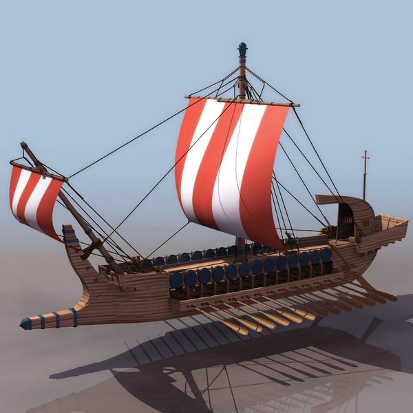 17th Century Greek Warship 3d Model 3ds Files Free