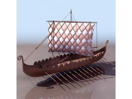 Viking age ancient warship 3d model