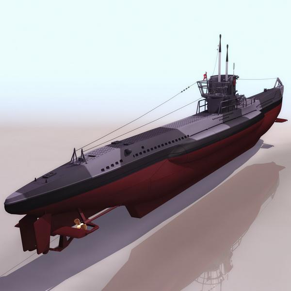 German Type VII submarine 3d model 3DS files free download
