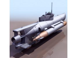 WWII German midget submarine Seehund 3d model