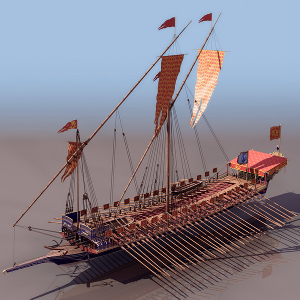 16th Century French Navy Galley Ship 3d Model 3DS Files