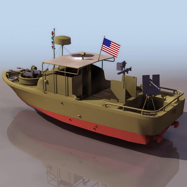 US Navy river patrol boat 3d rendering