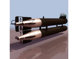 German manned torpedo Neger 3d model