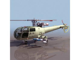 French Navy Alouette III helicopter 3d model