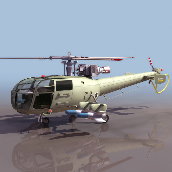 French Navy Alouette Iii Helicopter 3d Model 3ds Files