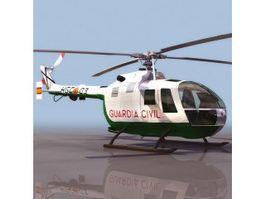 MBB Bo 105 light utility helicopter 3d model
