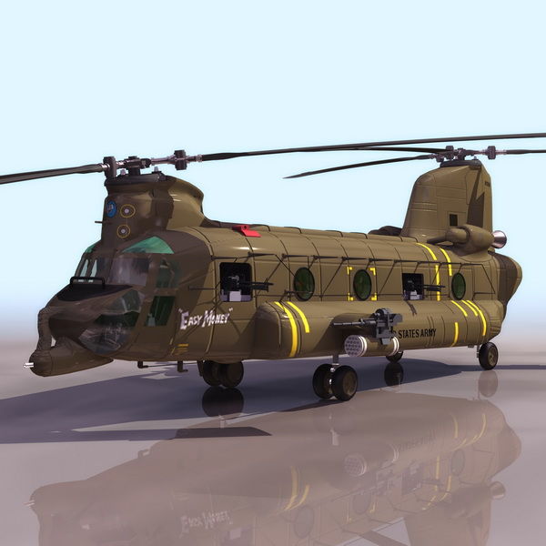 CH-47 Chinook Heavy-lift Helicopter 3d Model 3DS Files