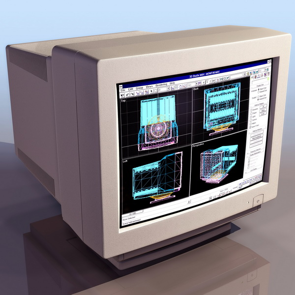 Computer CRT Monitor 3d Model 3DS Files Free Download