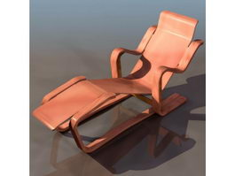 Wood chaise longue 3d model