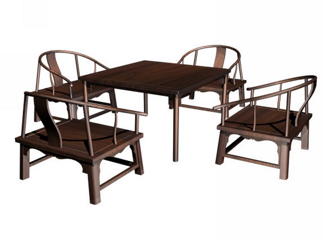 Superb Chinese Dining Set 3d Model