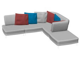 Family room sectional sofa 3d model