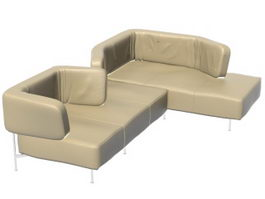 Sectional sofa daybed 3d model