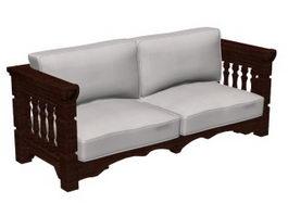 Wood sofa settee 3d model