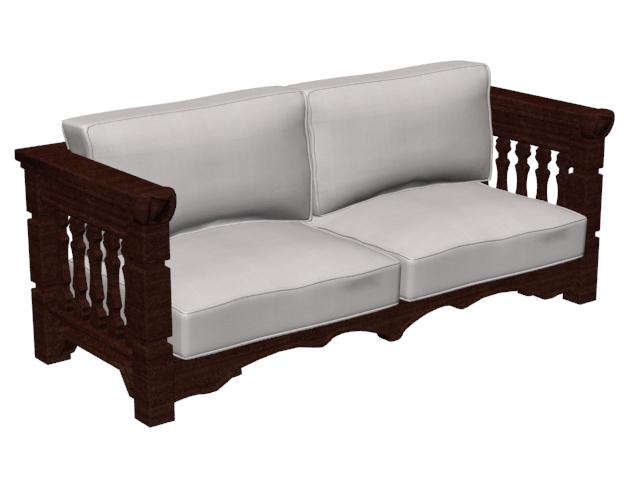 Wood Sofa Settee 3d Model 3ds Max 3ds Wavefront Files Free