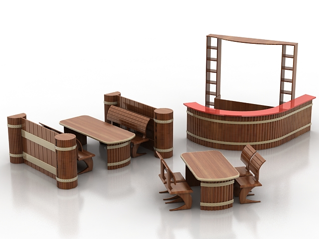 Bars and restaurants furniture sets 3d model 3dsmax files for Food bar 3d model