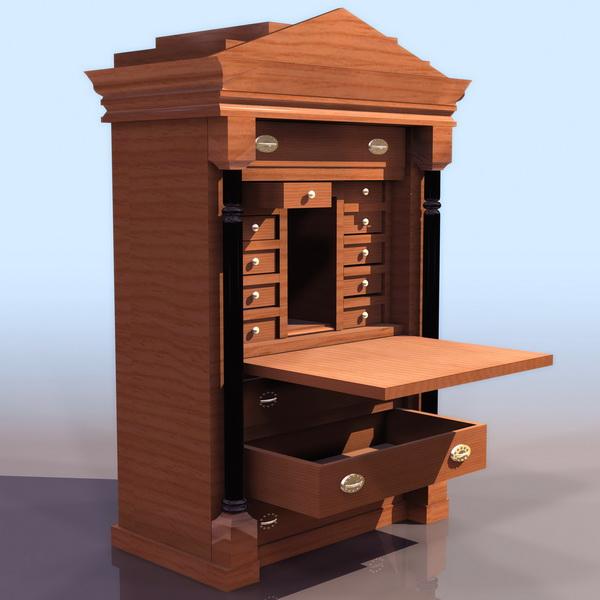 biedermeier style bureau 3d model 3ds files free download modeling 11612 on cadnav. Black Bedroom Furniture Sets. Home Design Ideas