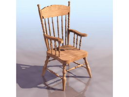 Solid wooden windsor chair 3d model