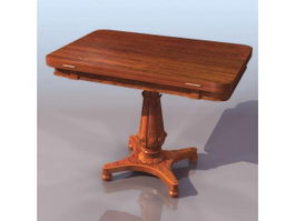 Antique rosewood card table 3d model