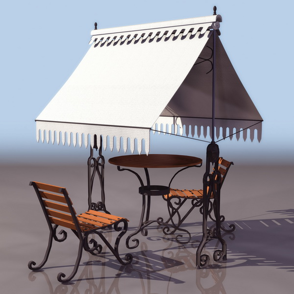 ornamental garden furniture set 3d model