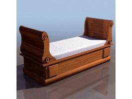 19th century Biedermeier style sleigh bed 3d model