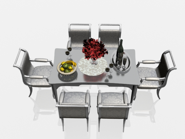 Modern dining table and chairs 3d model 3dsmax files free download