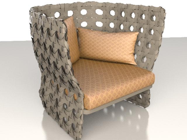 upholstered rattan chair 3d model