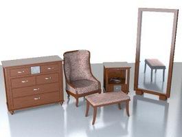 Classic home furniture set 3d model