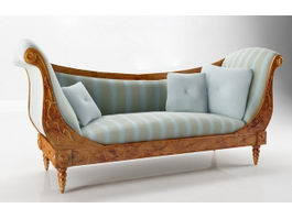 19th century upholstered settee 3d model