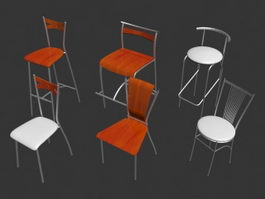 Six types modern style metal side chair 3d model