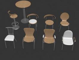 Minimalist restaurant bar chair set 3d model