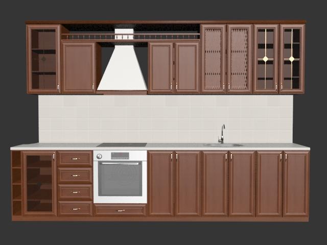 Single File Kitchen 3d Model