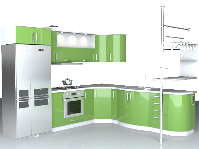 Modern l kitchen 3d model 3dsmax wavefront 3ds autocad for Model kitchen design