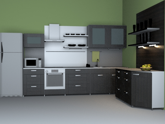 Modern western kitchen 3d model 3dsmax wavefront 3ds files for Kitchen models pictures
