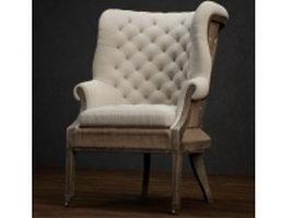 Fully upholstered wing-back chair 3d model