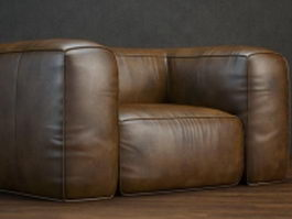 Upholstered leather sofa 3d model